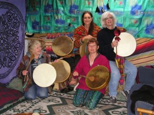 Seersha and friends at drum-making workshop